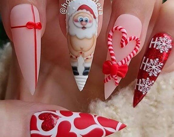 14 Bright-Colored Christmas Nails Idea!