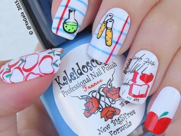 100 Fabulously Cute Back To School Nail Art Designs